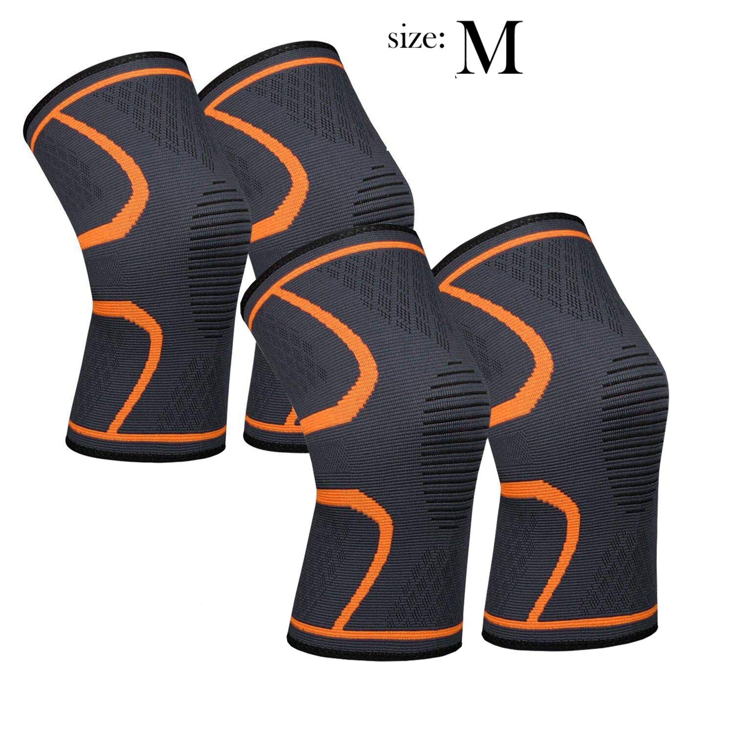 711TEK Knee Sleeve, Compression Knee Brace for Knee Pain - Premium Recovery Knee Support for Running, Jogging, Sports, Joint Pain Relief, Arthritis - for Men & Women (Orange-M-4Pcs)