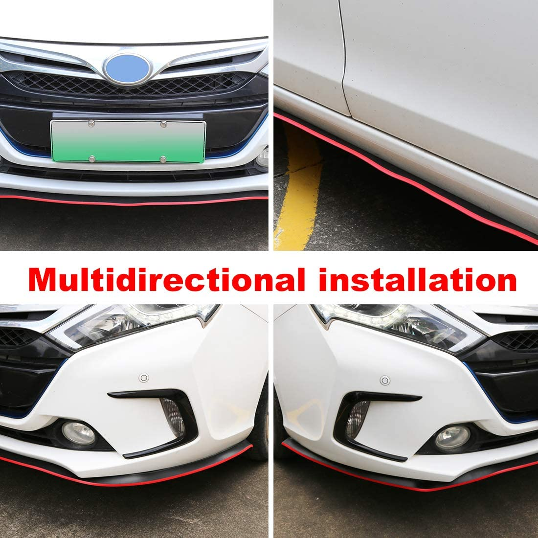 X AUTOHAUX 2.5m 8.2ft Univesal Rubber Front Bumper Lip Splitter Body Side Skirt Protector Red for Car