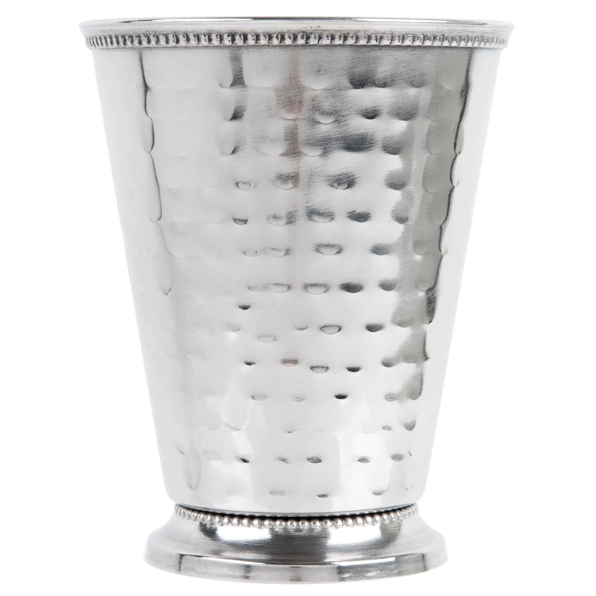 Core 16 oz. Stainless Steel Mint Julep Cup with Hammered Finish and Beaded Detailing - 12/Pack
