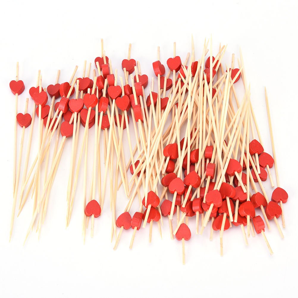 SQingYu 100pcs Colorful Wooden Toothpicks, Heart Pattern Disposable Fruit Pick, Cocktail Sandwich Toothpick Decoration,Red