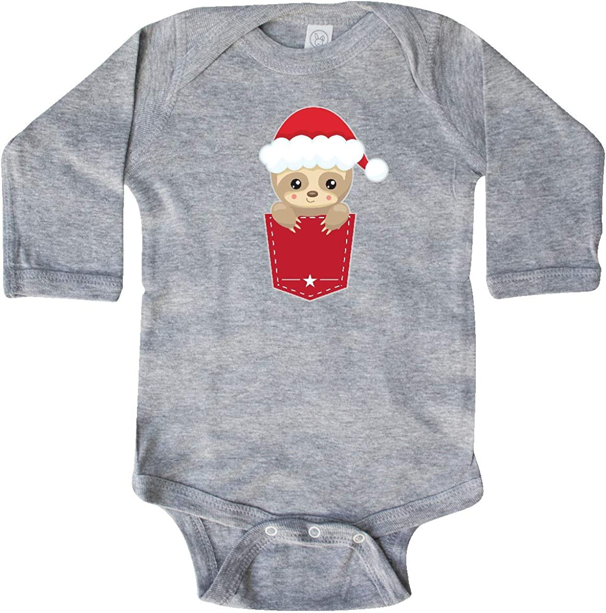 inktastic Christmas Sloth Santa Pocket Long Sleeve Creeper