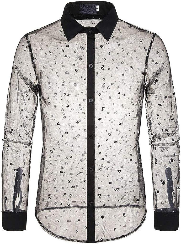 Hombre Camisa Manga Larga Slim Fit Camisa Transparente Camiseta de Manga Larga con Panel Delgado para Hombre Camisa de Vestir con Corte Slim Y Formal Casual Top Blusa de Hombre: Amazon.es: Ropa