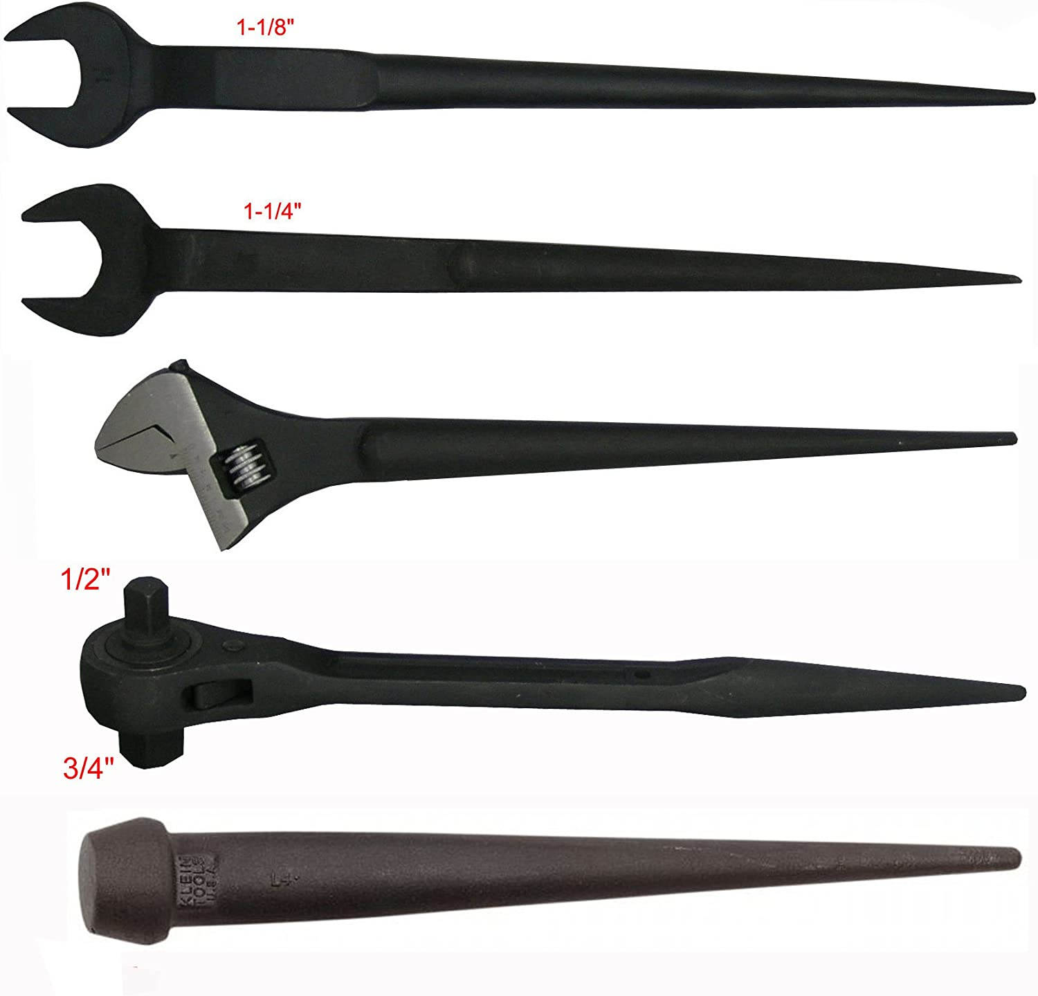 """9"""" Adjustable Spud Wrench & Dual Ratchet Spud & 9-pc Iron Worker & 9""""  Bull Pin"""