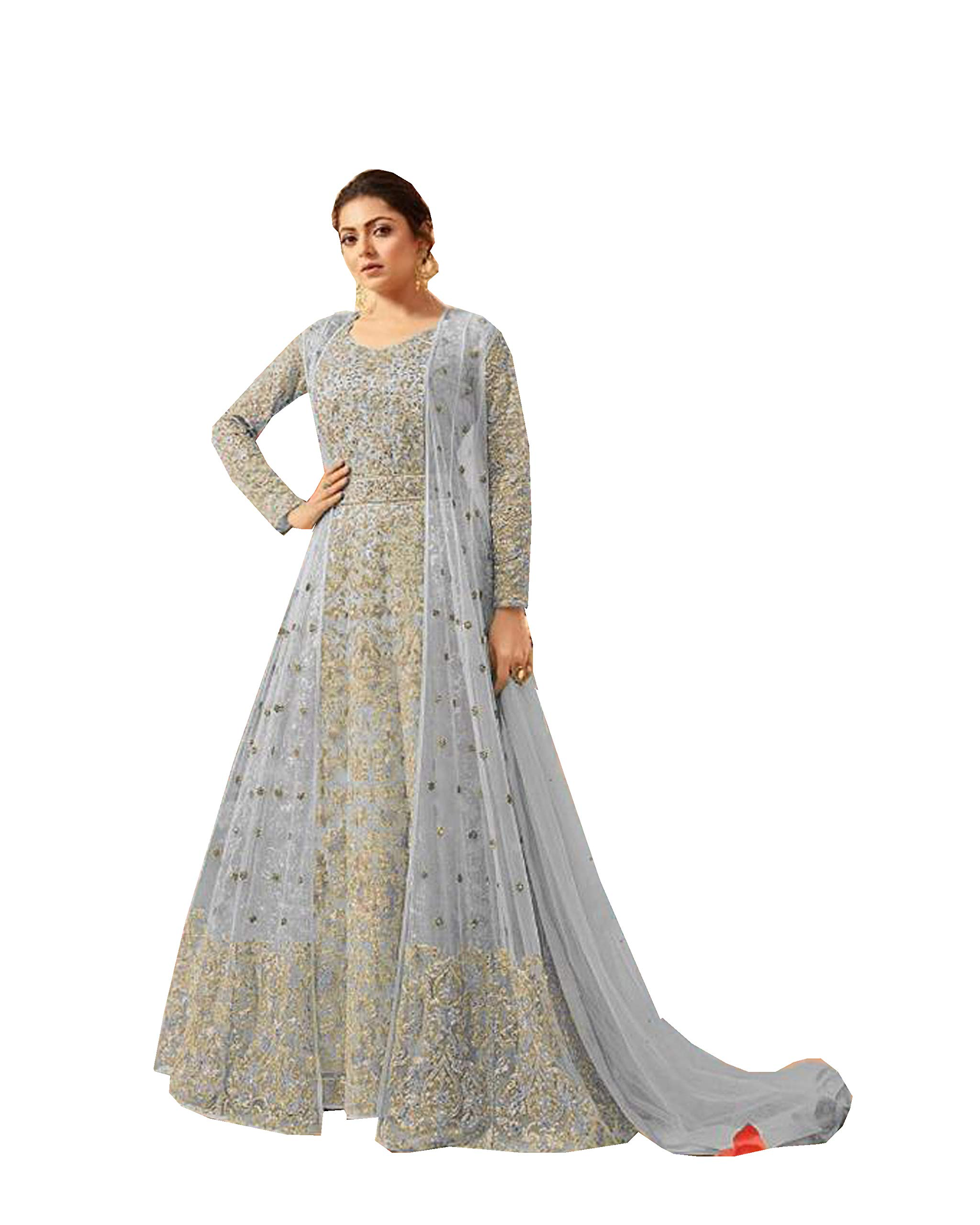 Delisa Indian/Pakistani Bollywood Party Wear Long Anarkali Gown for Womens LT New (Sky Blue, LARGE-42)
