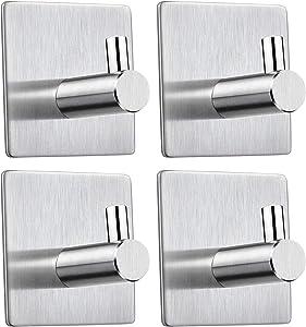 Self Adhesive Hooks Heavy Duty Towel Hook Guamar Waterproof Stainless Steel Wall Hooks Stick on Door Cabinet Robe Rack Hanger for Hanging Clothes,Coats, Bags,Keys,Bathroom Kitchen and Bedroom-4 Packs