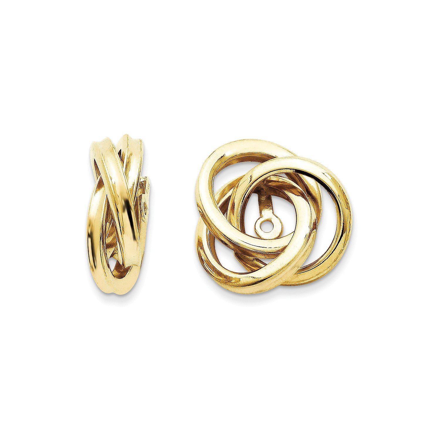 Roy Rose Jewelry 14K Yellow Gold Polished Love Knot Earring Jackets 15mm length