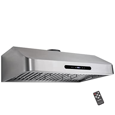 Golden Vantage 30 Under Cabinet Stainless Steel LED Display Touch Control Cooking Fan Range Hood w Remote Gas Sensor