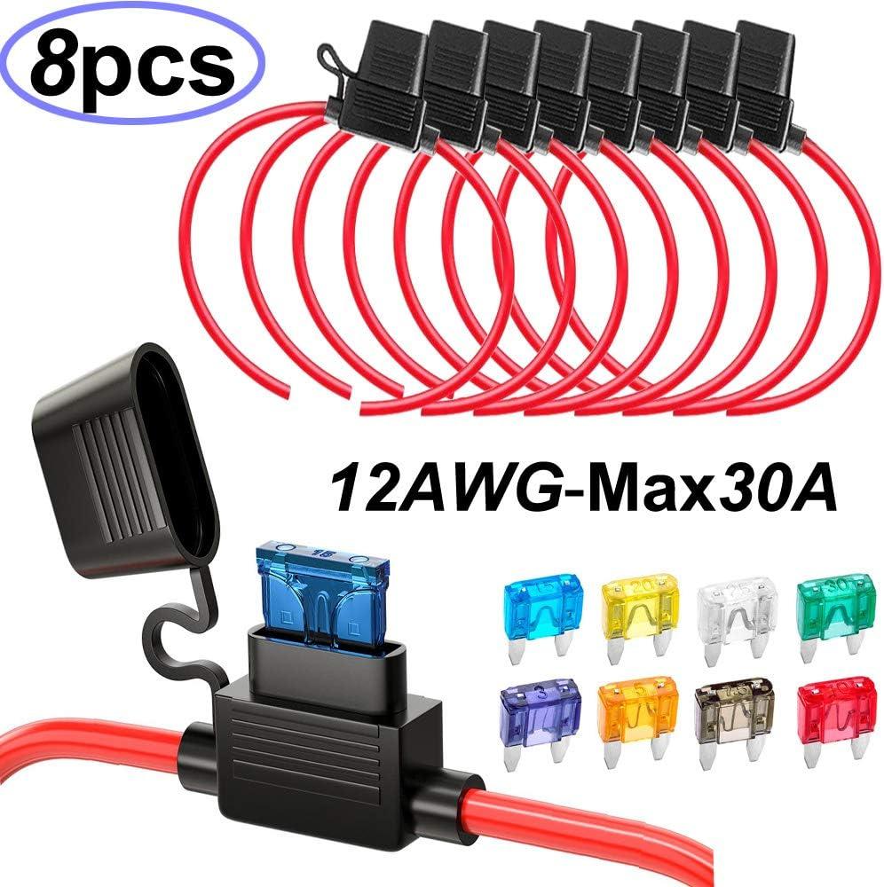 Gebildet/® 5 x 20 mm AGC Portes-Fusible en Ligne 32V 20A Pack de 15 Fast-Blow Porte-Fusible Type /à vis Inline avec 16 AWG Fil