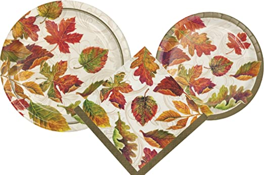 Autumn Leaves Party Supply Pack! Bundle Includes Paper Plates u0026 Napkins for 8 Guests in a Fall Colors of the Wind Design  sc 1 st  Fall Home Decor & Fall Leaves Paper Plates and Napkin Sets
