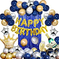 MMTX Birthday Party Decorations Blue Silver and Gold Party Balloons for Boys Friends Men Teens with Happy Birthday…