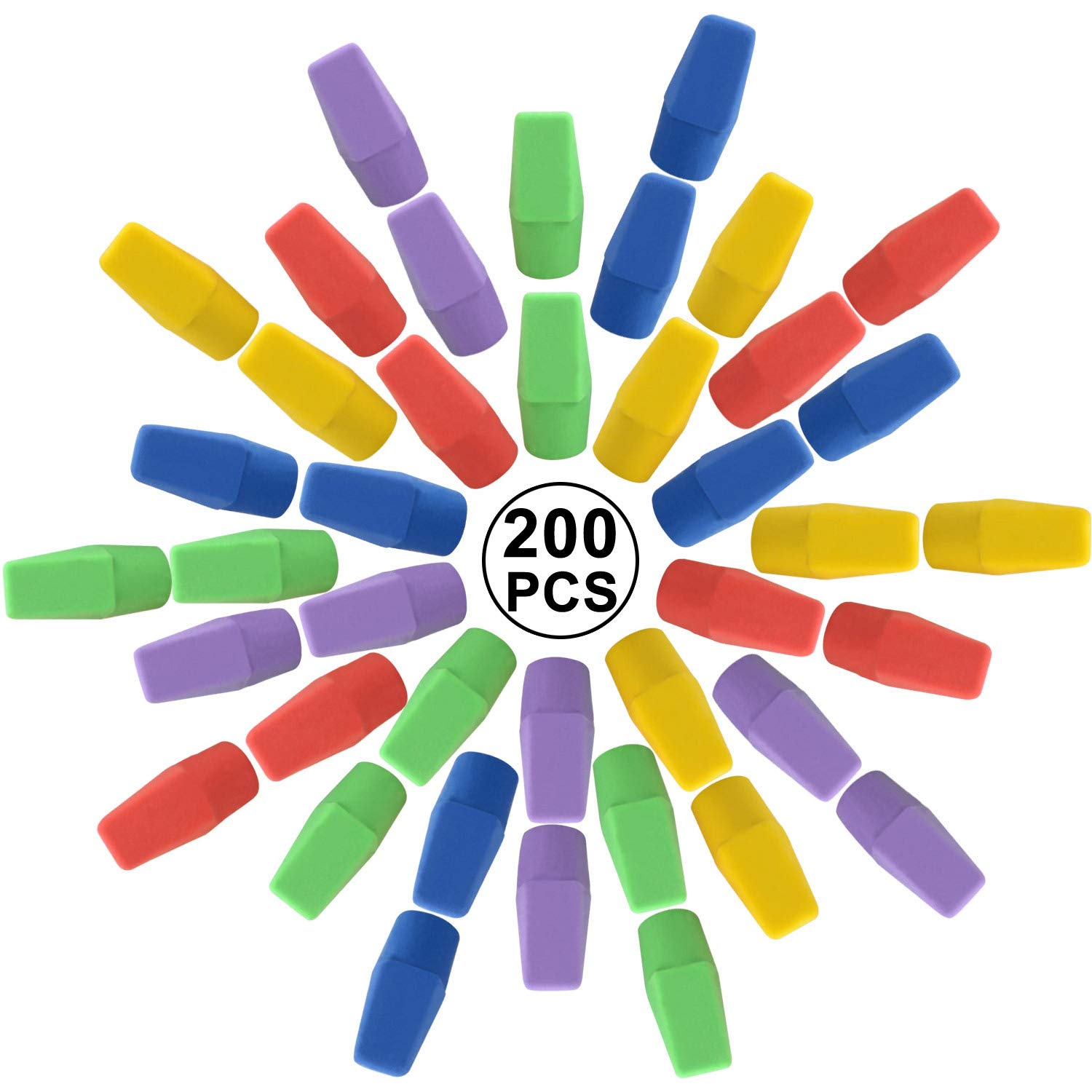 200PCS Pencil Eraser Caps, disegno a matita, gomma tappi per bambini studenti Fun Learning, colori assortiti Facethoroughly
