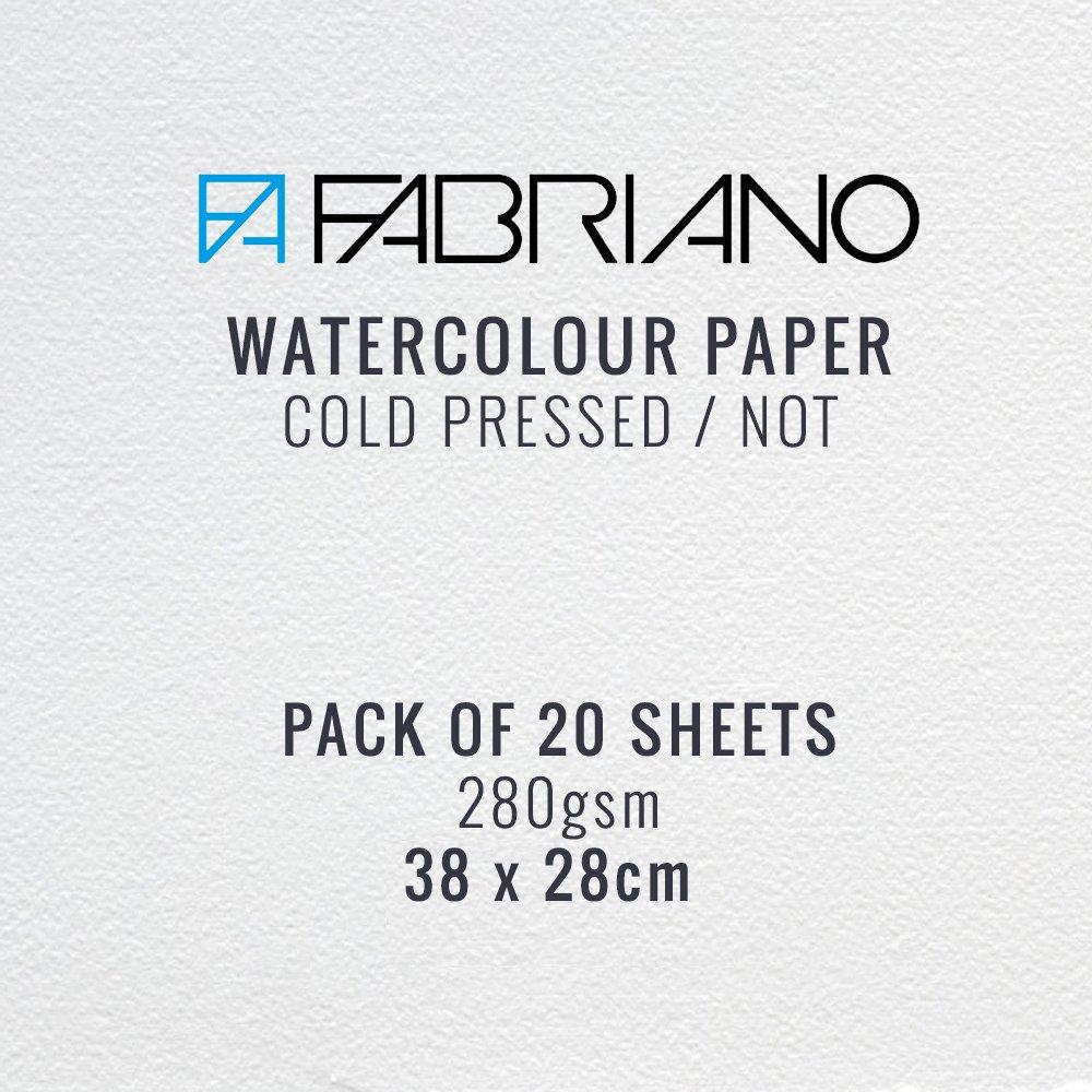 Carta Fabriano per acquarello, grammatura da 280 g/m² , pressata a freddo, confezione da 20 fogli 38 x 28 cm 49563