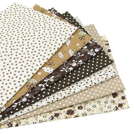 7 piezas 49cm * 49cm tela de algodón marrón para patchwork,telas para hacer patchwork, telas tilda, retales de telas, tela algodon por metros