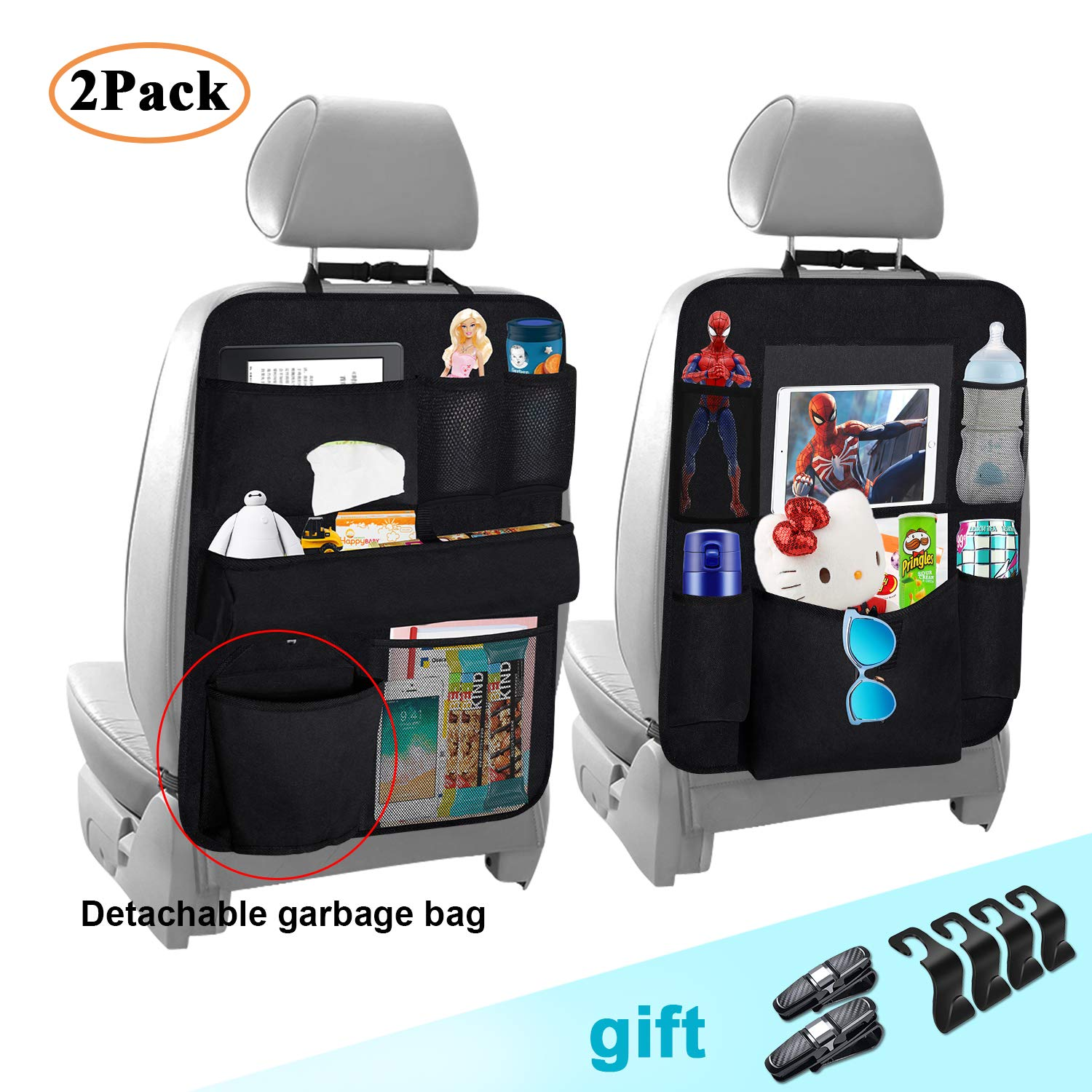 Cadaleem Car Backseat Organizer(2 Pack), Vehicle Seat Back Protector Kick Mat, Seat Back Headrest Hooks & Car Glasses Holders, Universal Use Travel Accessories for Kids, Toddlers and Adults by Cadaleem