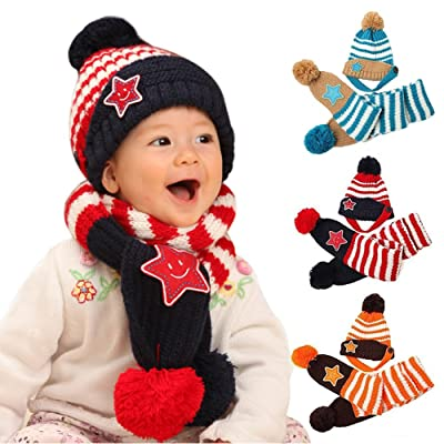 31644d66 AStorePlus Baby Stripe Hat Scarf Set- Kids Stars Winter Warm Knitted Wool  Pompons Earflap Hat and Knit Scarf Set