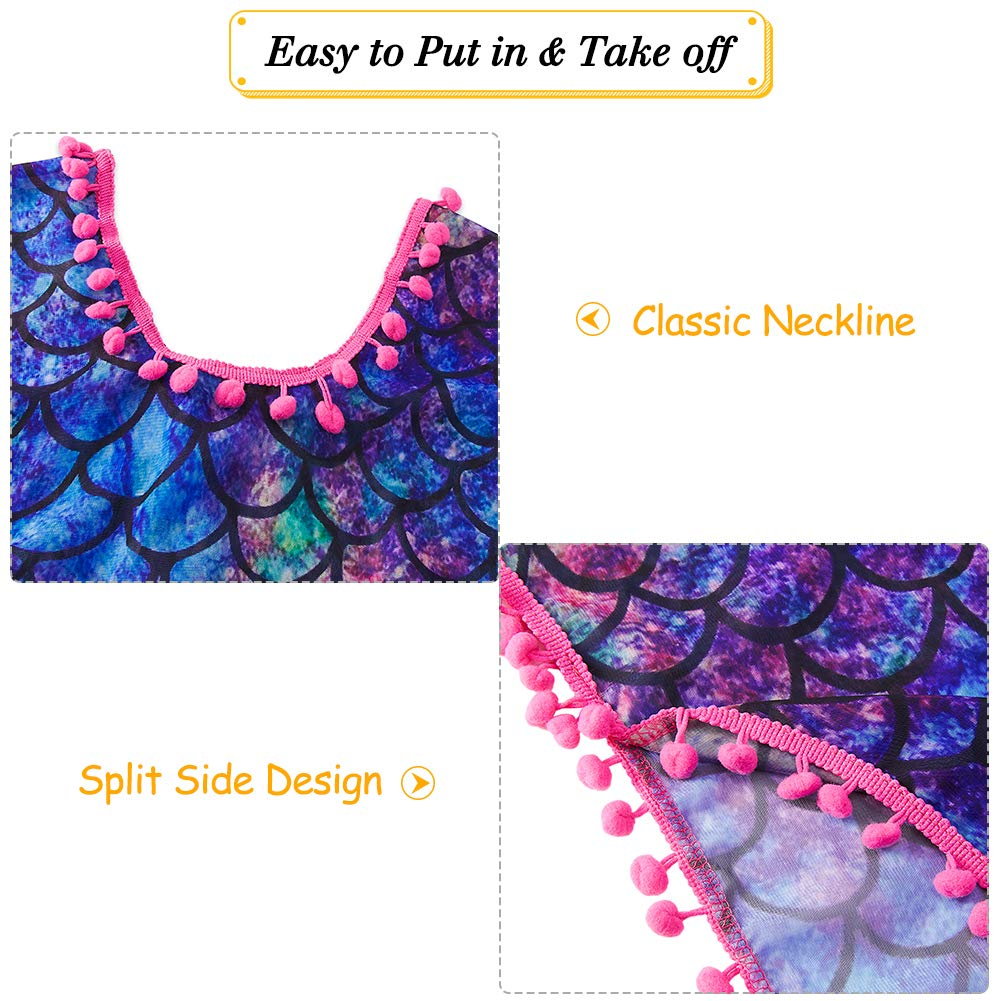 TUONROAD 3D Printed Girls Swimsuit Cover Ups Summer Beach Bathing Suit Waps for 3-12T