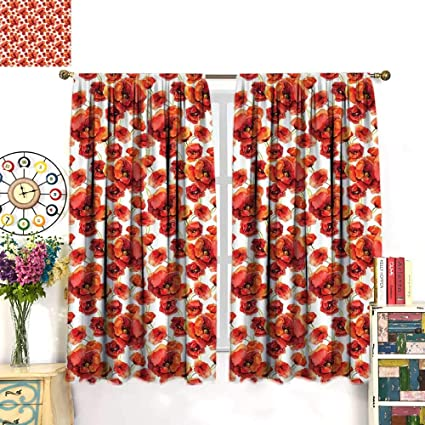 WinfreyDecor Floral Drapes For Living Room Red