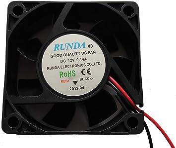 Ventilador 12 V 0.14 A 2 alambre de 6 cm, 60 * 60 * 25 mm DC ...