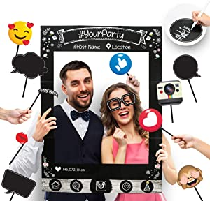 Insta-Themed Social Media Party Photo Booth Frame with Emoji & Personalized Speech Bubble Props. Great as Vintage Background Photography for Birthday, Anniversary, Wedding Supplies Event Decoration