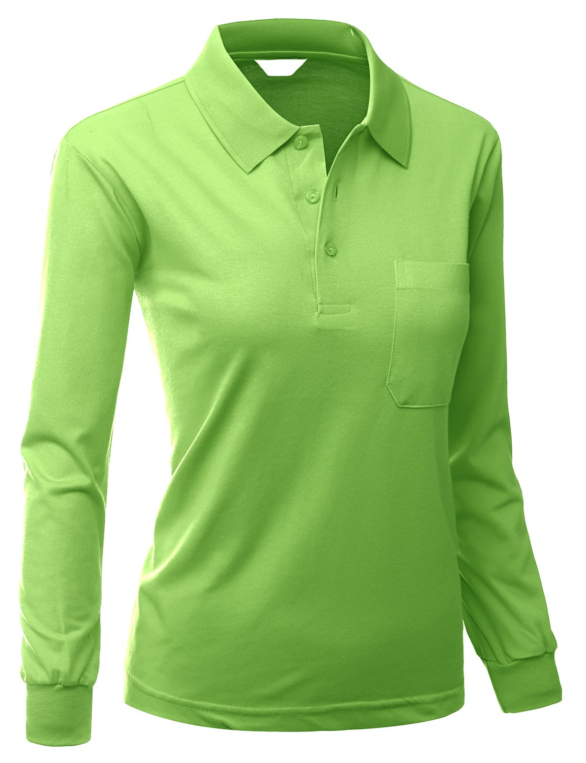 womens Sporty style TC Polo Dri Fit Collar TShirt LIGHTGREEN Size M