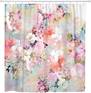ArtSocket Shower Curtain Colorful Flowers Romantic Pink Teal Watercolor Chic Floral Pattern Home Bathroom Decor Polyester Fabric Waterproof 60 x 72 Inches Set with Hooks