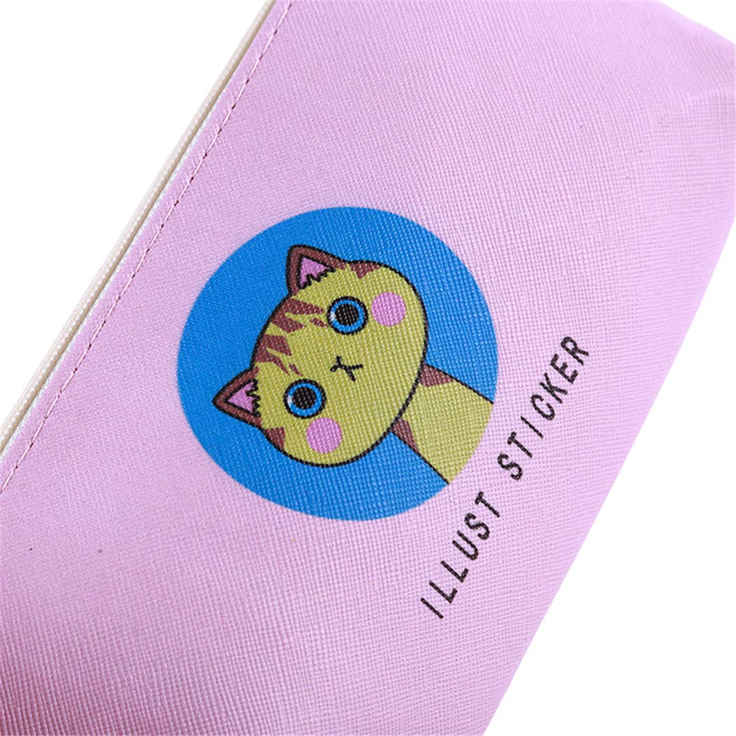 LZIYAN Cute Pencil Case Cartoon Cat Large Capacity Stationery Bag Pouch Case With Zipper Creative Pen Storage Bag Student Supplies,Pink by LZIYAN (Image #7)