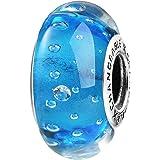 TAOTAOHAS Perlina in vetro Blu Ciondolo da donna argento sterling 925 e vetro per braccialetti con charm Pandora [Fata farfalla]