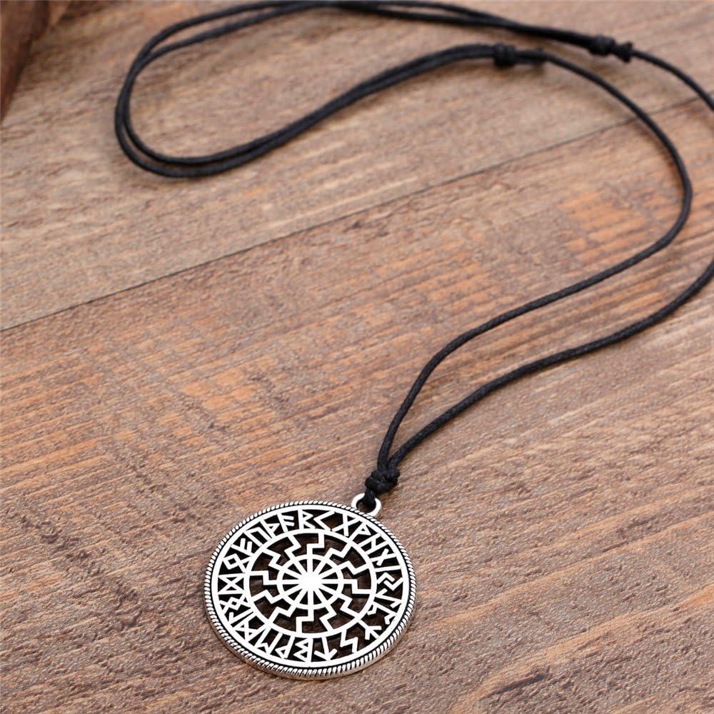 Pendentif symbole Soleil Noir avec calendrier runique viking pour homme ou femme