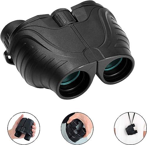 RONHAN Binoculars for Adults Kids Compact Lightweight,12×25 Small Folding High Power Binoculars Waterproof Telescope with Low Night Vision HD BAK4 for Bird Watching, Hunting, Theater, Concerts Black