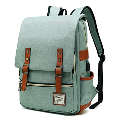 0eb363d69cb4 MANCIO Slim Laptop Backpack with USB Charging Port,Vintage Tear Resistant  Business Bag for Travel, College, School, Casual Daypacks for Man,Women, ...