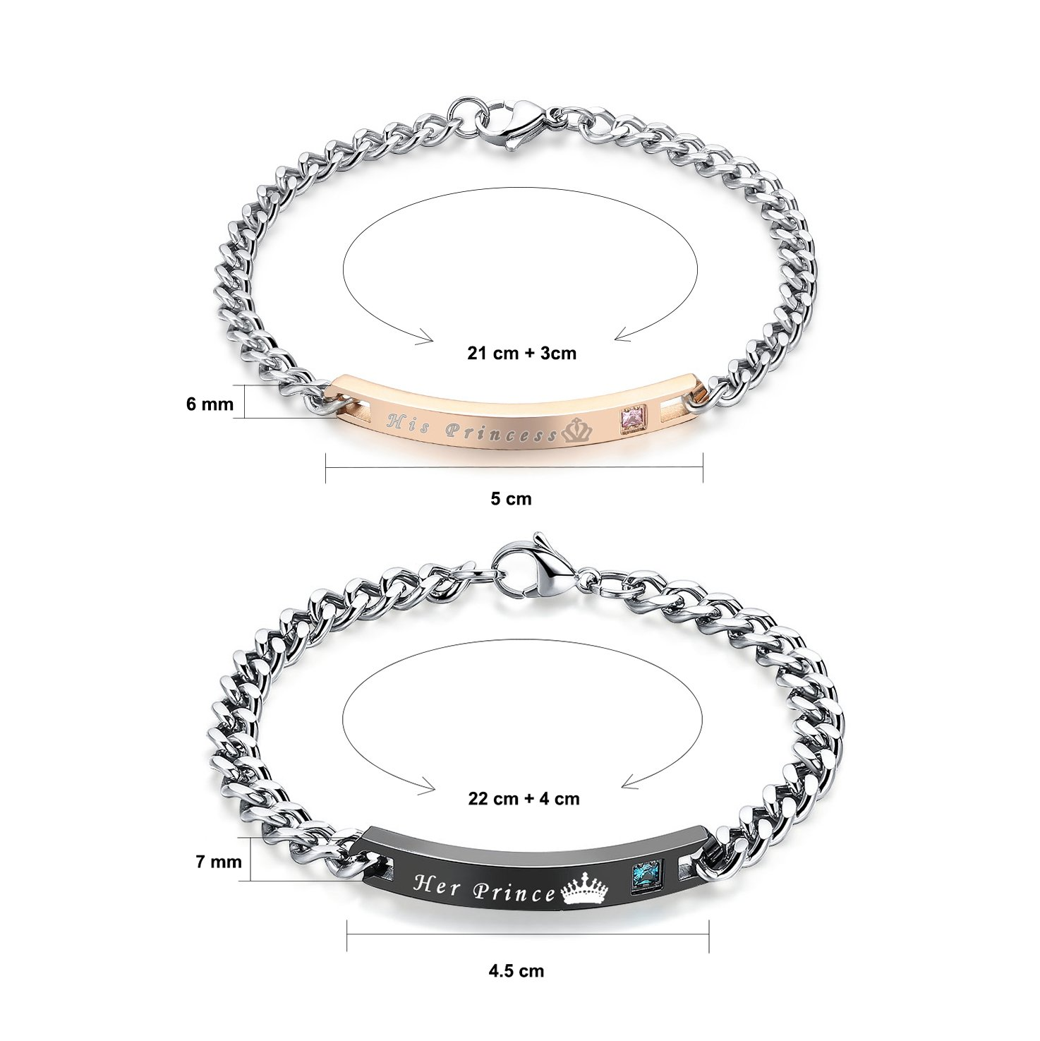 Gagafeel His Hers Matching Set Titanium Stainless Steel His Queen Her King Couple Bracelet 2 pcs with Gift Box (His Princess Her Prince)