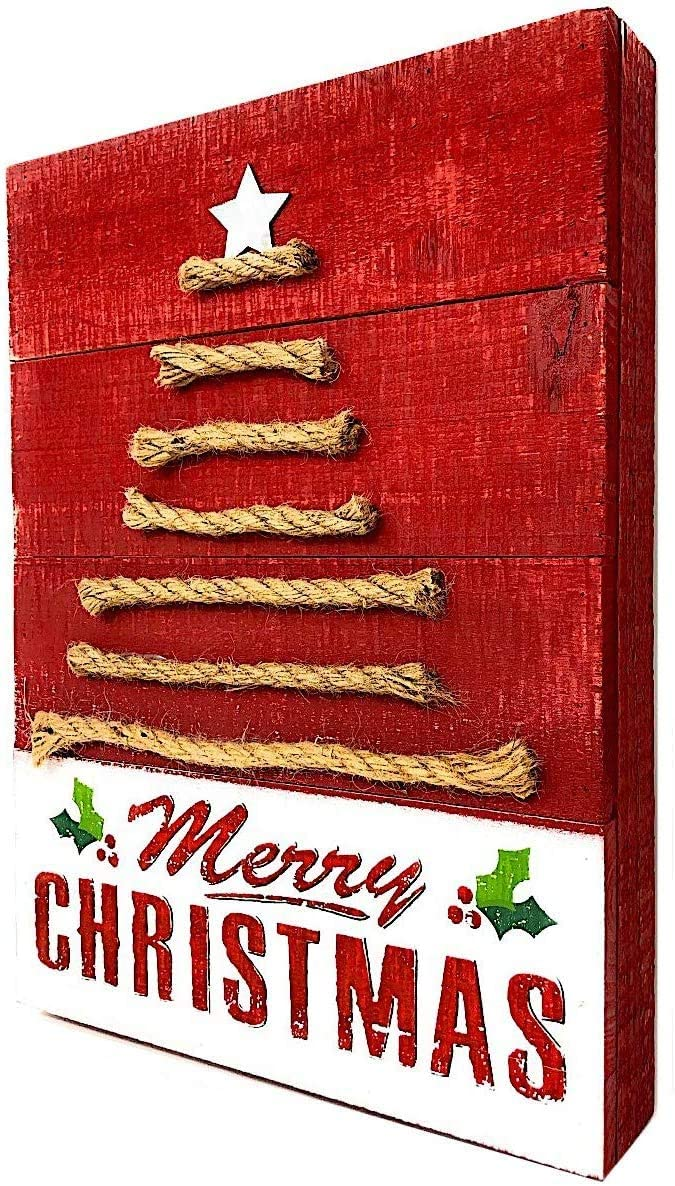 D.I. Inc Christmas Holiday Decoration Wooden Signs Blocks for Indoor Outdoor Use Decor Rustic Distressed Red White 12