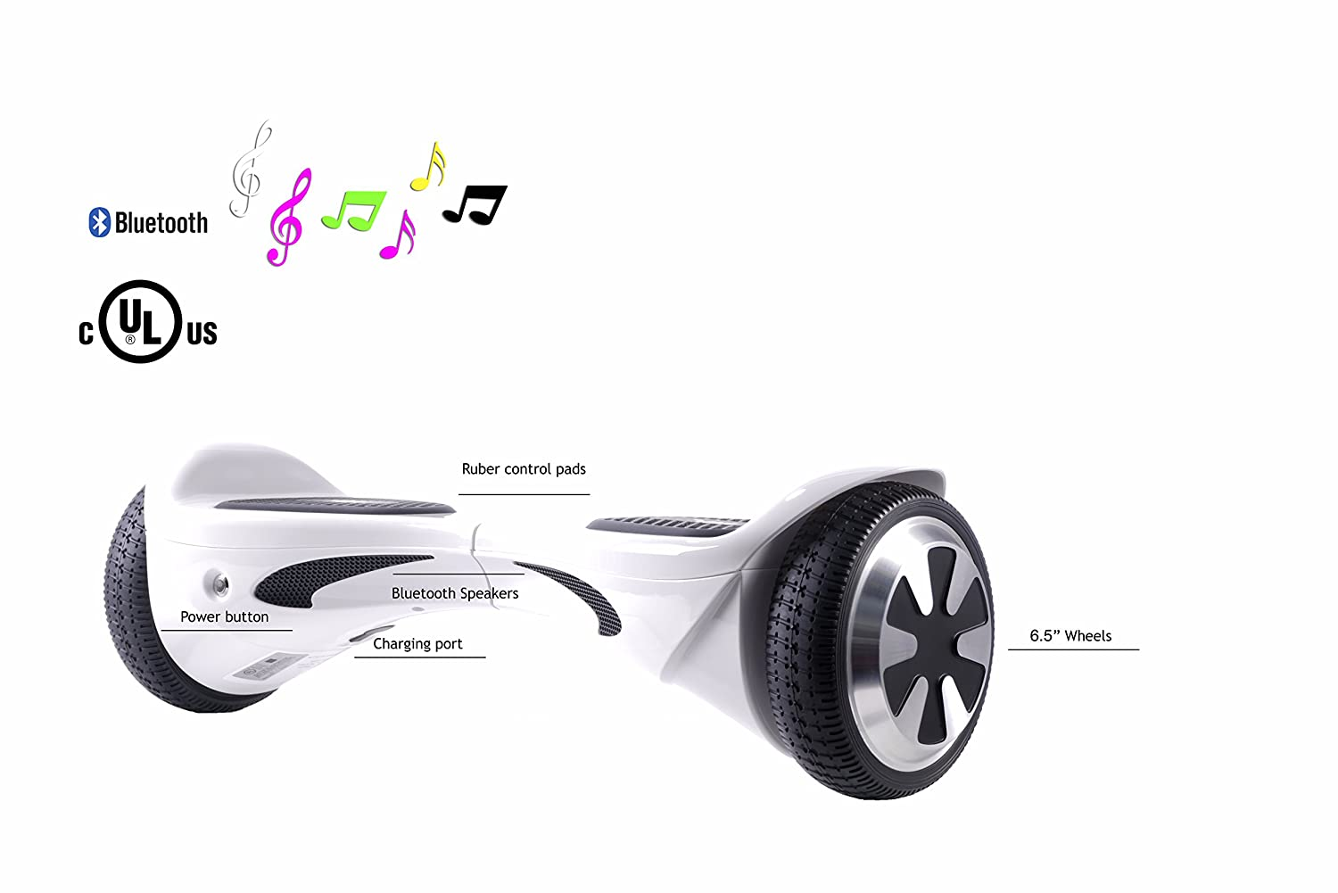 SAVA X1L- UL Certified 2272 Self BalancingScooter Hoverboard with Bluetooth Speaker LED Lights Free Carry Case Firesafe Battery