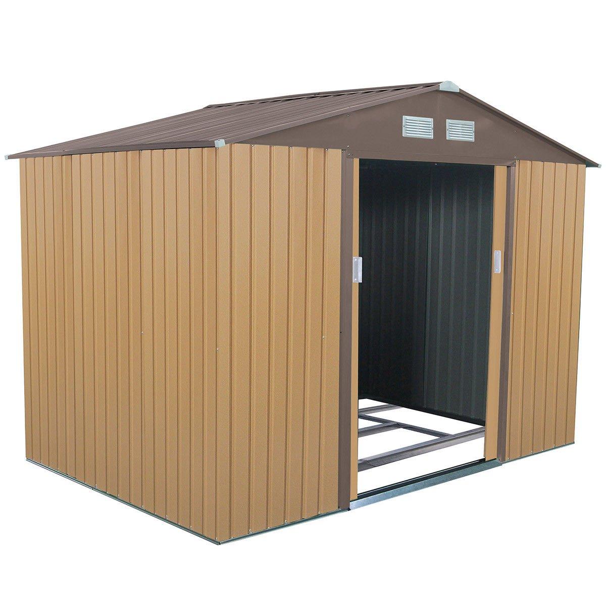Goplus Outdoor Storage Shed Sliding Door Garden Tool House 9' X 6' (Khaki)