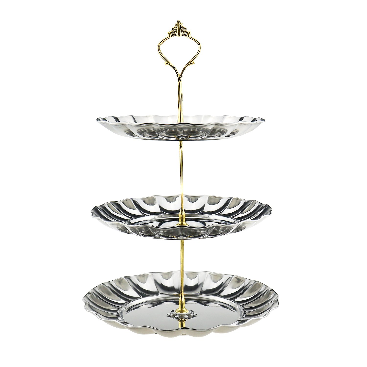 Fruit Plates,SamYoung 3-Tier Stainless Steel Cake Wedding Stand Fruits Desserts Candy Cheese Tableware Plates Display for Wedding Home Gold Party Celebration Gold color. (Gold) by SamYoung COMINHKPR107076