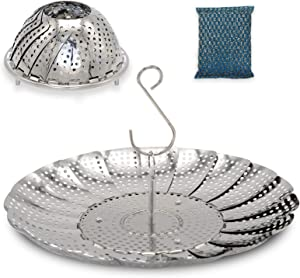 """Steamer Basket, Vegetable Steamer With Hook Stainless Steel Expandable to Fit Various Sizes of Pots for Steaming Food and Strain Water(6.5""""to 10.8"""")"""