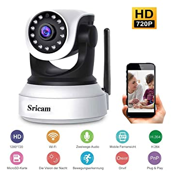 Scriam Cámara IP WiFi de Seguridad Interior de visión Nocturna: Amazon.es: Deportes y aire libre