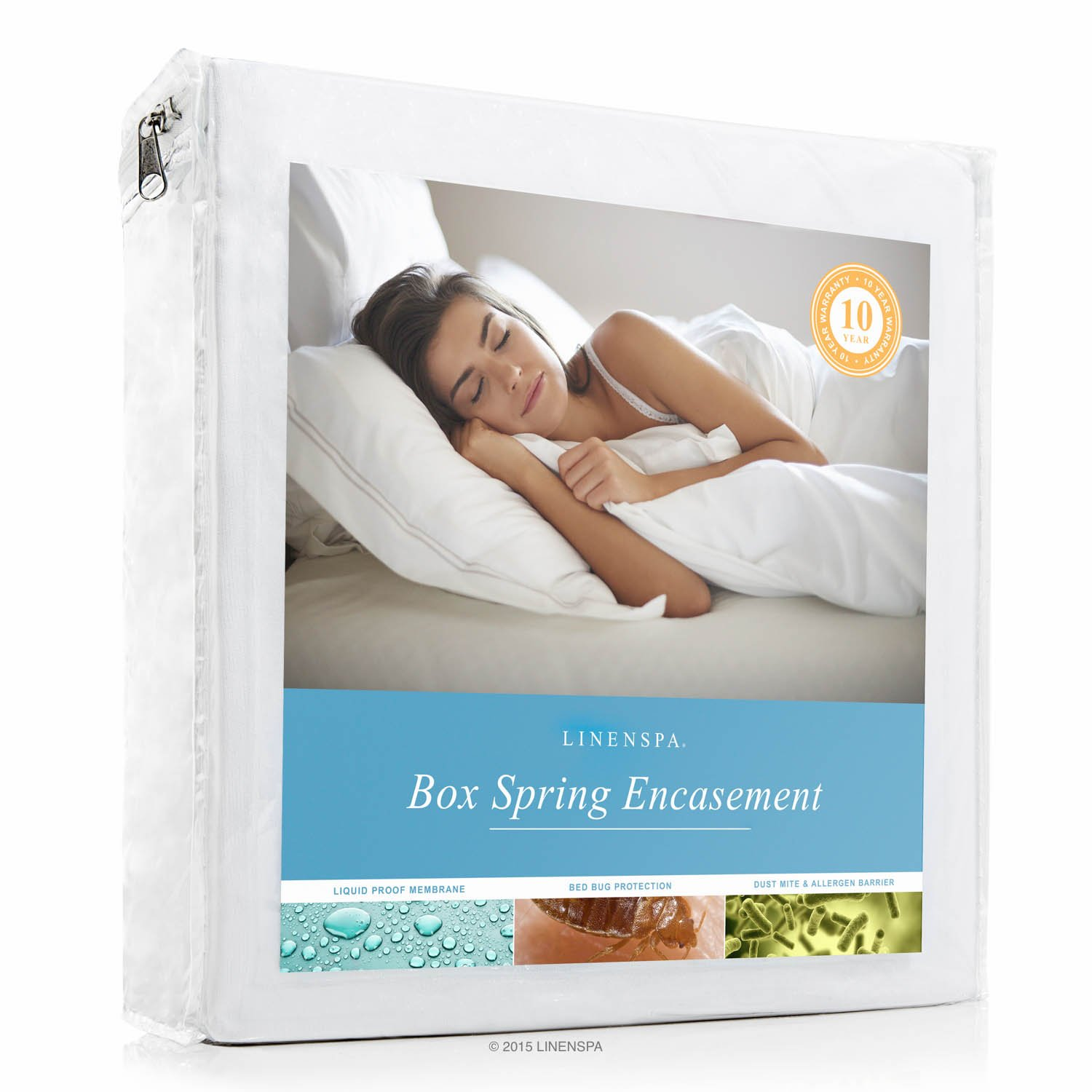 LINENSPA Waterproof Bed Bug Proof Box Spring Encasement Protector - Queen by Linenspa
