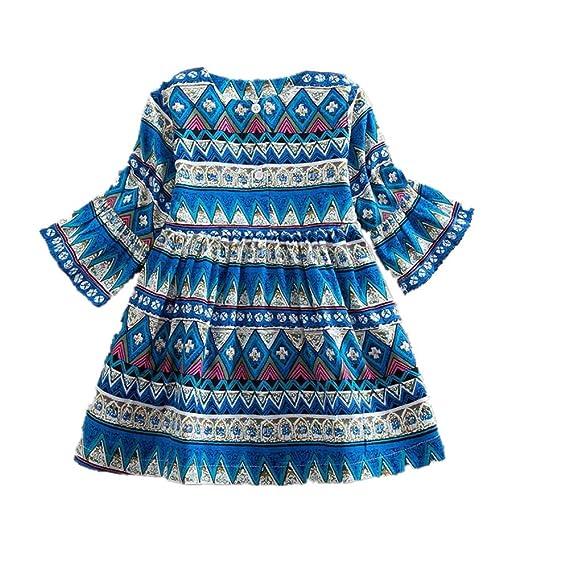beautyjourney Bebé Niña Vestido de Fiesta Estilo Bohemio, Vestido de Princesa de Mangas largas para