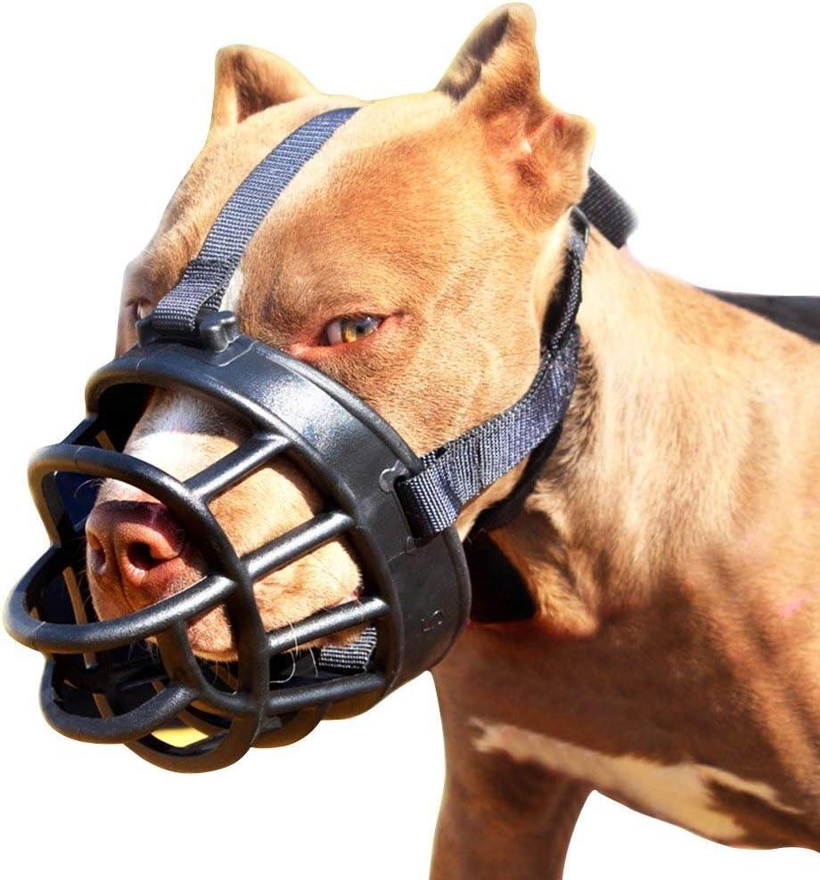 Moonpet Silicone Rubber Basket Bozal para perros - Anti masticación Biting Barkingg - Soft ajustable máscara de seguridad respirable para pequeños medianos Large Dogs Boca cubierta - Tamaño 4