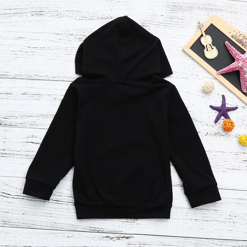 6M, Black | Aint TiTCool Toddler Baby Boys Girls Hooded Sweatshirts Infant Funny Letter Blouse Tops