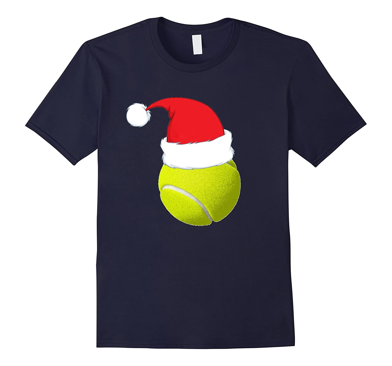 Cute TENNIS BALL SANTA HAT Christmas T-Shirt Funny Xmas Tee-TD