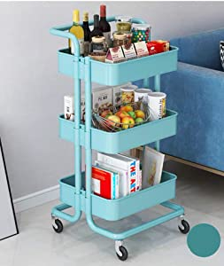 Storage Trolley Cart 3-Tier Storage Cart Rolling Cart Mental Utility Cart Multi-Purpose Trolley Organizer Cart with Casters Organizer Trolley on Wheels for Office Kitchen Bathroom Bedroom (Blue)