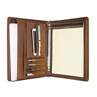 Vintage 3-Ring Binder Portfolio Handmade Crazy-Horse Leather Padfolio Case Business Organizer Tablet Folio Folder, Zippered Closure (Non-Custom, Brown)