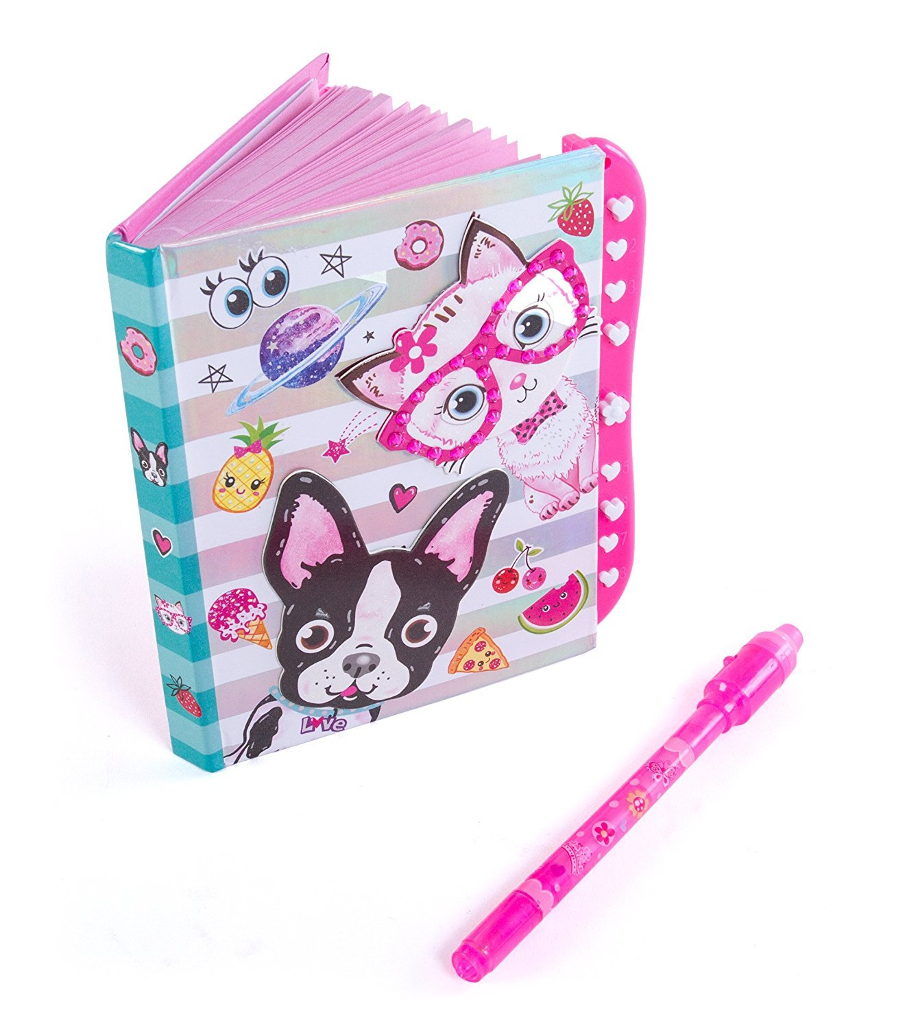 """Hot Focus Best Pals Secret Diary Passcode Lock Invisible Ink Pen – 6"""" Journal Notebook 100 Double Sided Lined Pages Kids"""
