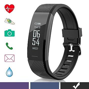 Arteesol Fitness Tracker con Pulsómetro Monitor Impermeable Actividad Tracker Reloj Bluetooth Podómetro Pulsera para Hombre, Mujer y Niños, Color Negro: ...
