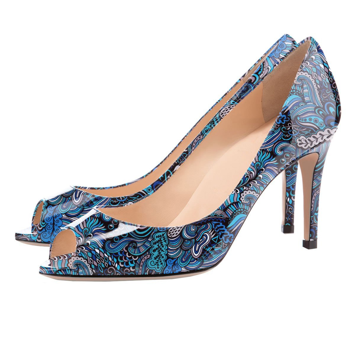 Eldof Women Peep Toe Pumps Mid-Heel Pumps Formal Open Wedding Bridal Classic Heel Open Formal Toe Stiletto B07FHLK2M1 10.5 B(M) US|Blue-pattern d3c593