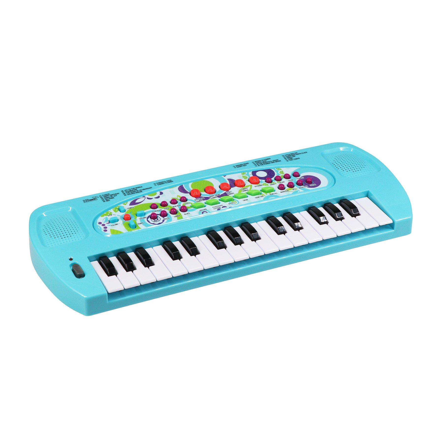 aPerfectLife Pinao Kids, 32 Keys Multifunction Electronic Kids Piano Keyboard Musical Instrument Kids Microphone (Blue)