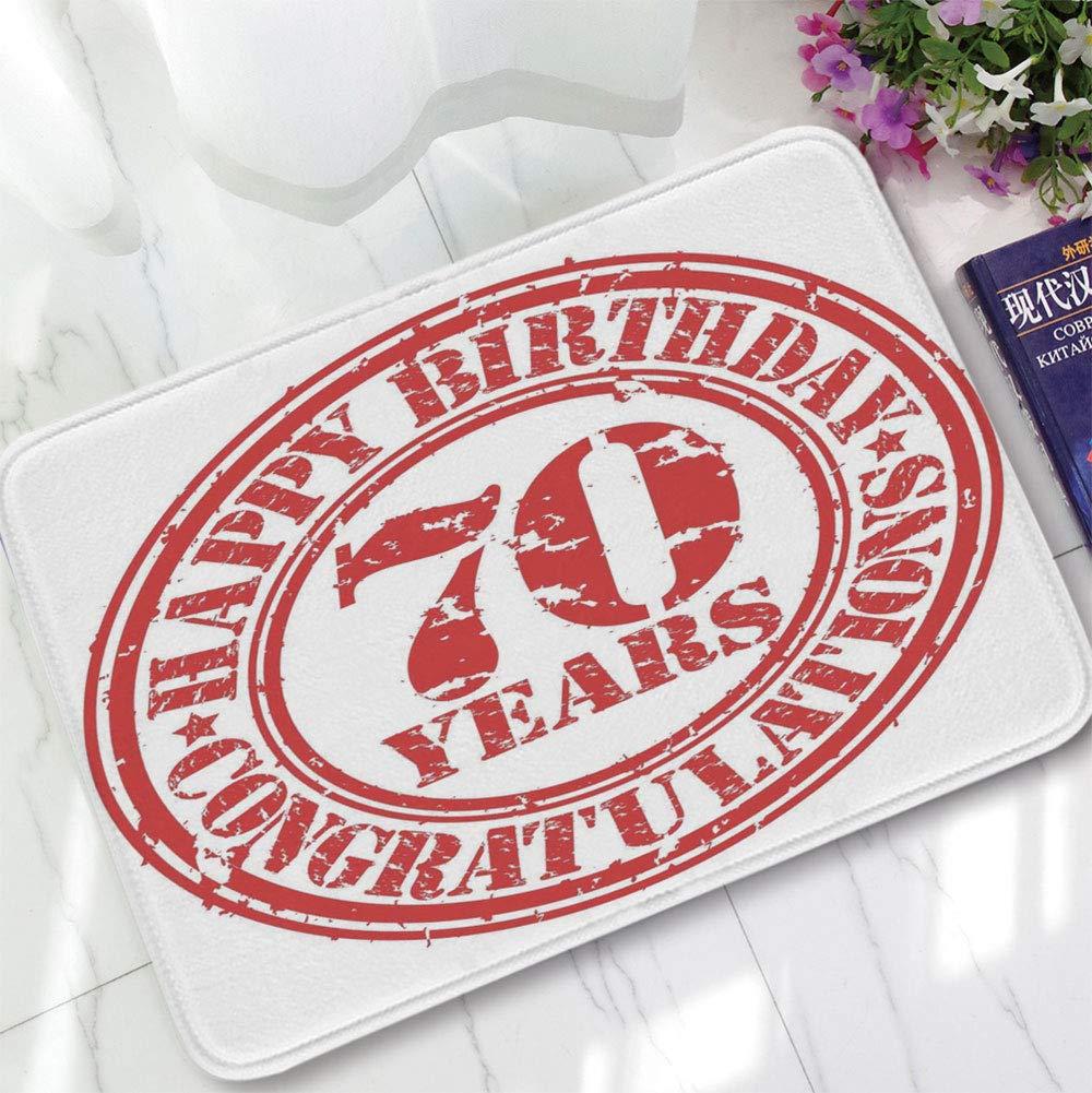 YOLIYANA Modern Carpet,70th Birthday Decorations,for Living Room Bathroom,15.75''x23.62'',70 Years Congrats Symbol Icon Grunge