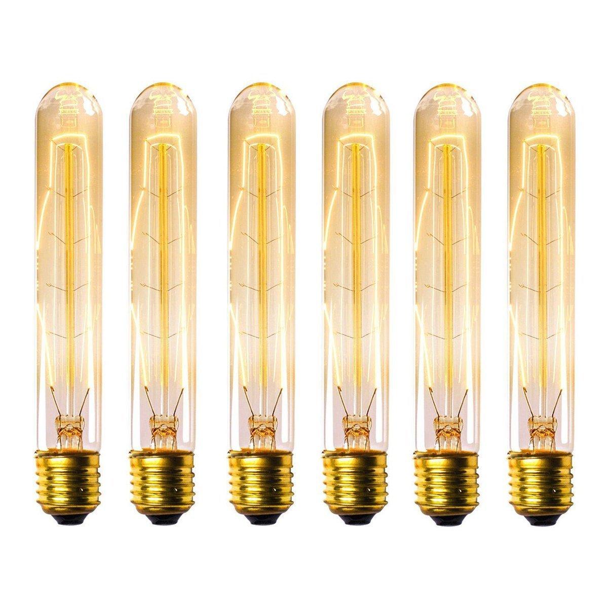 Tubular Edison Bulbs, KINGSO Dimmable Vintage Light Bulbs 60W Nostalgic Filament Incandescent Antique Light Bulb E27 Base T30 110V Length of 7.28 inches - 6 Pack
